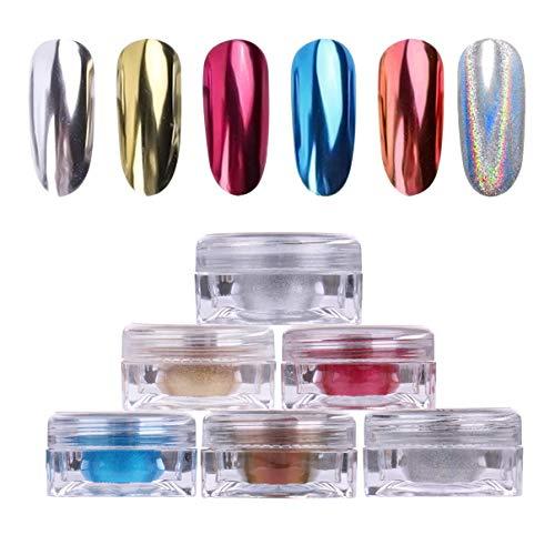 AIMEILI 6 Boxes Nail Art Manicure Powder Set, 1×0.5g Holographic Powder, 1×0.5g Chameleon Chrome Nail Powder, 4×0.5g Mirror Effect Nail Powder - Set Powder