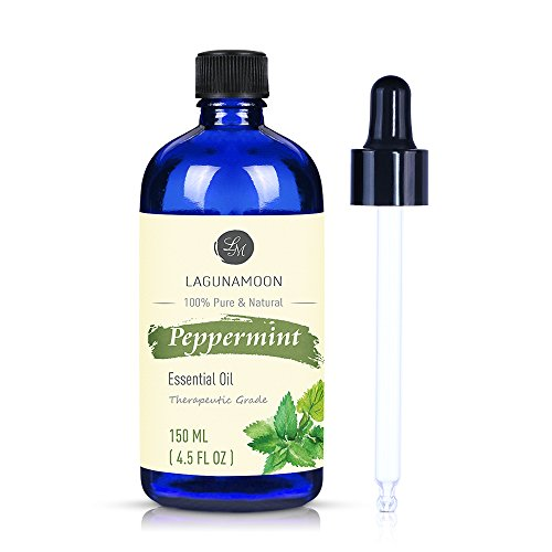 Lagunamoon Peppermint Essential Oil, Large 4.5 Ounces Pure Essential Oils for Diffuser, Humidifier, Massage, Aromatherapy, Skin & Hair Care
