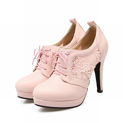 Show Shine Womens Casual Veter Hak Platform Oxfords Schoenen Roze