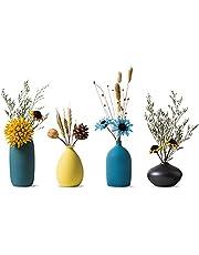 Sziqiqi Kleine Keramische Vazen voor Bloemen Decoratieve Vaasset voor Woonkamer Mini Handgemaakte Matte Vazen voor Tafeldecoratie Als Middelpunt Modern Marinegroen Geel Hemelsblauw Zwart Kleurvazen