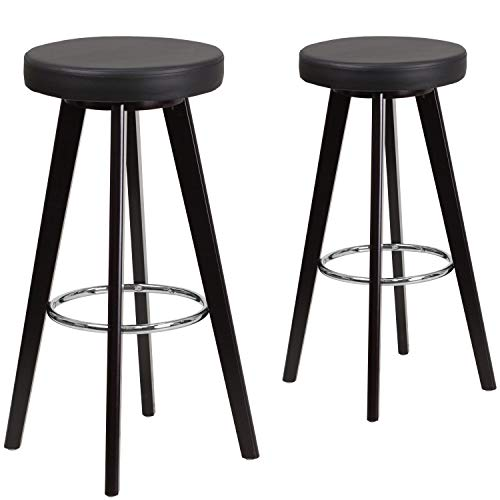 Flash Furniture 2 Pk. Trenton Series 29'' High Contemporary Cappuccino Wood Barstool with Black Vinyl Seat