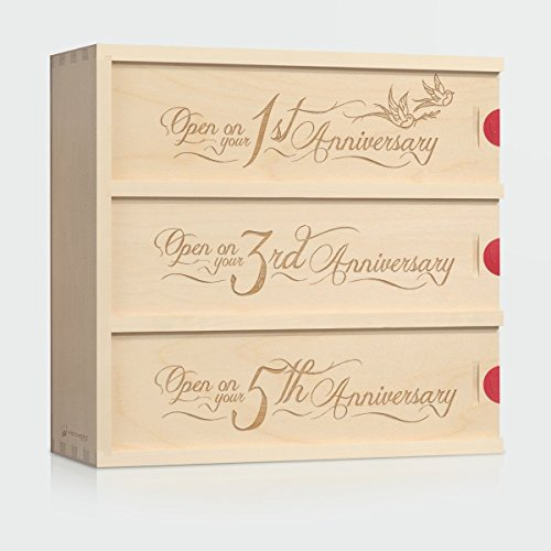 Anniversary Wine Box - Love Birds // Unique Wedding Gift for the Couple - Patented WineforaWedding® Wedding Wine Box