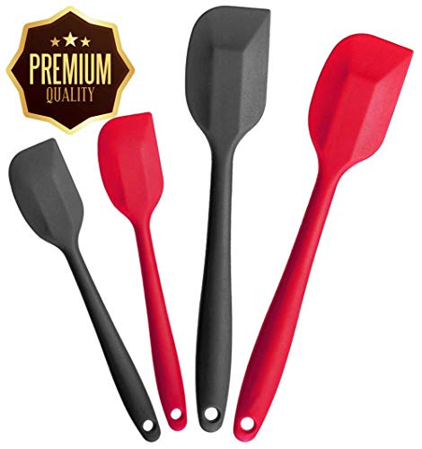 Essentials Basic Fry Pan (4M STAR Spatula Kitchen Cooking Tools Pack Silicone Spoon Rubber Premium Spoonula Spatula Set of 4 with Hygienic Solid Coating - 680ºF Heat-Resistant Spatulas (Black Red))