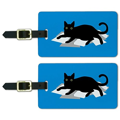Black Cat Lying on Papers Luggage ID Tags Suitcase Carry-On Cards - Set of 2