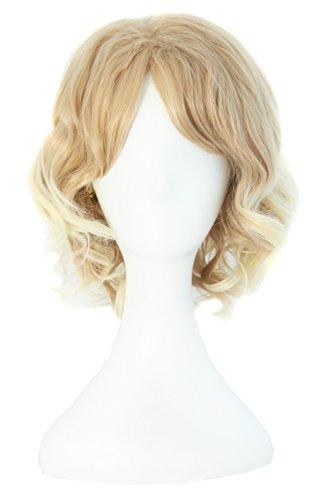 MapofBeauty Beautiful Blonde/ Light Blonde Women's Short Curly Wig