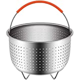 Steamer Basket for 6 or 8 Quart Instant Pot Pressure Cooker, Sturdy Stainless Steel Steamer Insert with Silicone Covered Handle, Great for Steaming Vegetables Fruits Eggs - Best Kitchen Supplies
