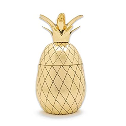 Pineapple Cocktail Shaker - Pineapple Tumbler in Gold, Bronze, or Silver - 12 oz Bar Shaker - Vintage Cocktail Shaker - Pineapple Tumbler - Tiki Mug Mason Martini Shaker in Gift Box (Gold)