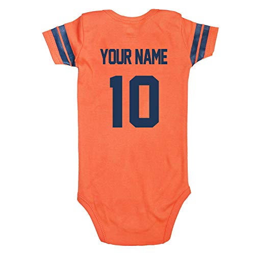 Newborn Football Jersey Shirt - ROMPERINBOX Custom Football Sport Jersey, Unisex Baby Romper Personalized Customization 0-24 Months Orange