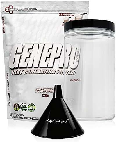 Protein Powder GENEPRO-Musclegen Research-Premium Protein for Absorption, Muscle Growth & Bariatric - Organic Gluten Free Flavorless No Sugar Non GMO + Funnel + Clear Storage Container