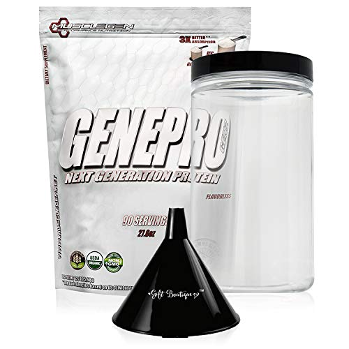 Protein Powder GENEPRO-Musclegen Research-Premium Protein for Absorption, Muscle Growth & Bariatric - Organic Gluten Free Flavorless No Sugar Non GMO + Funnel + Clear Storage Container