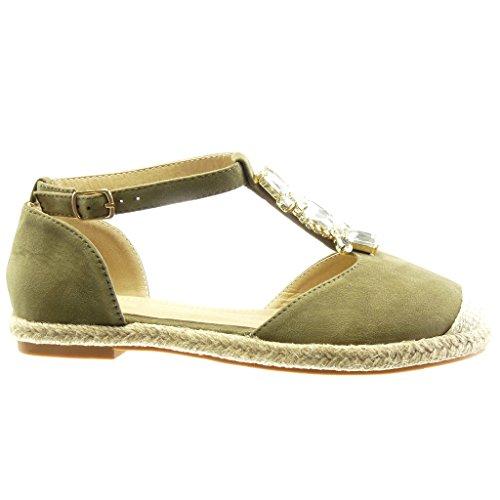 Verde a Moda Strass Espadrillas Blocco Tacco Cinturino Donna Gioielli Corda CM Scarpe Sandali Angkorly 2 6xqFwvZ4fv