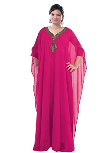 Dubai Very Fancy Kaftan Luxury Crystal Beaded Caftan Abaya Wedding Dress (XXXXL Dark Pink) by Leena