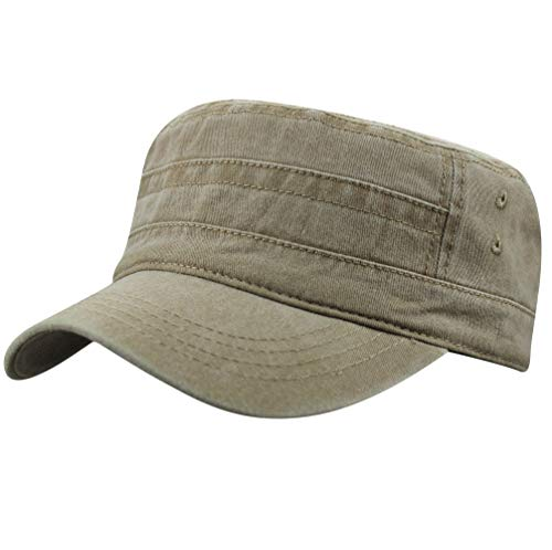 - Men's Cotton Flat Top Peaked Baseball Twill Army Military Corps Hat Cap Visor (2019 Khaki)