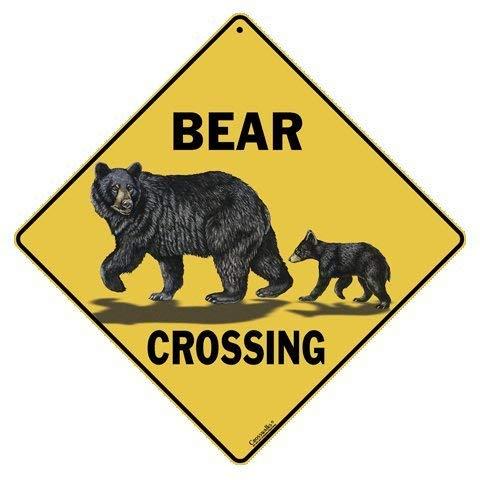 """CROSSWALKS Bear Family Crossing 12"""" X 12"""" Aluminum Sign"""