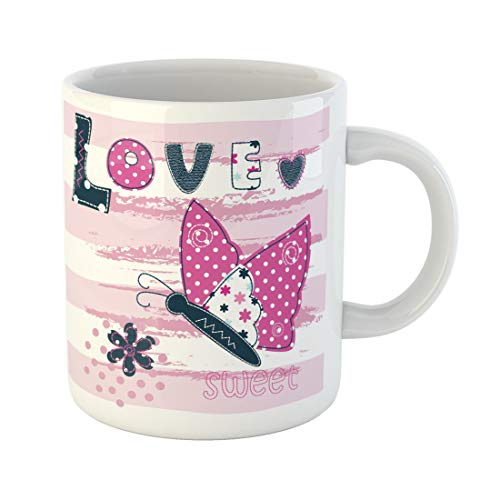 Semtomn Funny Coffee Mug Blue Jeans Baby Butterfly for Pink Abstract Animal Cartoon 11 Oz Ceramic Coffee Mugs Tea Cup Best Gift Or Souvenir