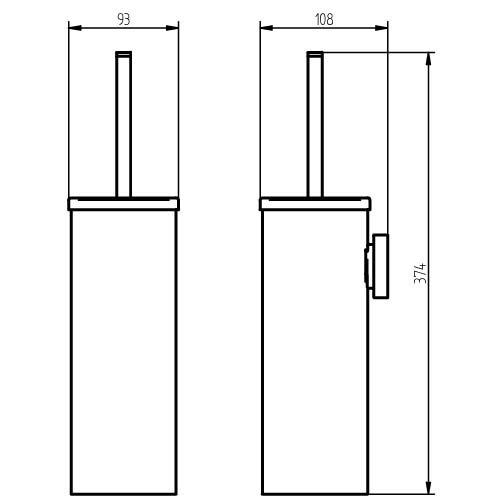 Haceka 25194610 Kosmos Escobillero con soporte a la pared plateado
