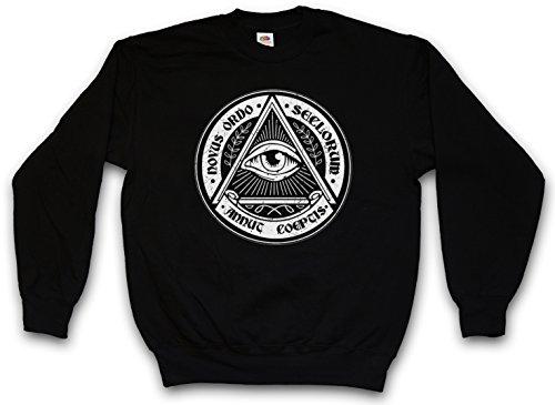 """ILLUMINATI EYE """"J"""" SWEATSHIRT PULLOVER PULLI – Illuminaten Freimaurer Society Auge Free Masons Loge Lodge Illumiatus Größen S – 3XL"""