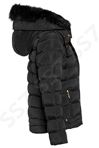 rembourr femmes hiver 8 16 pour veste Tailles Noir SS7 FAaqxzw