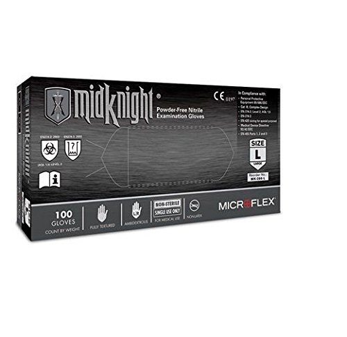 Microflex MK-296-XXL Black MidKnight Gloves, Nitrile, 9 1/2' Large, XX-Large (Pack of 1000) 9 1/2 Large Thomas Scientific