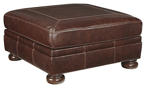 Ashley Furniture Signature Design - Banner Leather Oversized Ottoman - Traditional - Brown