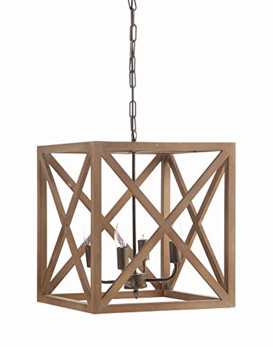 Creative Co-op Metal and Wood Chandelier, 15.75 Square by 17.75 Height