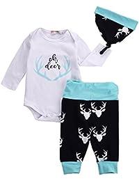 3pcs/Set Newborn Baby Boys Girls Cotton Long Sleeve Romper Oh Deer Bodysuit+Deer Print Pants+Hat Outfits