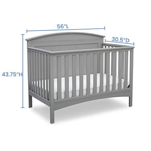414LI24GKoL - Delta Children Archer Solid Panel 4-in-1 Convertible Baby Crib, Grey