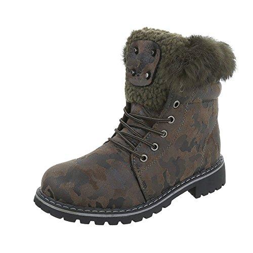 Zapatos para mujer Botas Tacón ancho Botines de cordones Ital-Design kaki H943