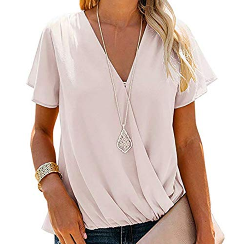 FORUU Women's Tops, Ladies Sexy Short Sleeve V-Neck Wrinkle Shirt Solid Pullover Blouses Fashion 2019 Office Elegant Summer Business Work Casual Under 5 10 15 Dollars Sexy