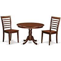 East West Furniture HLML3-MAH-W 3Piece Hartland Set with One Round 42in Table & Two Dinette Chairs with Solid Wood Seat in a Attractive Mahogany Finish