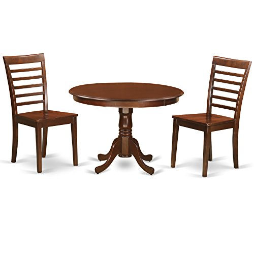 Mahogany Solid Wood Seat - East West Furniture HLML3-MAH-W 3Piece Hartland Set with One Round 42in Table & Two Dinette Chairs with Solid Wood Seat in a Attractive Mahogany Finish