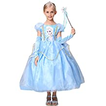 Girls Princess Dress Snowflake Halloween Costume Cosplay