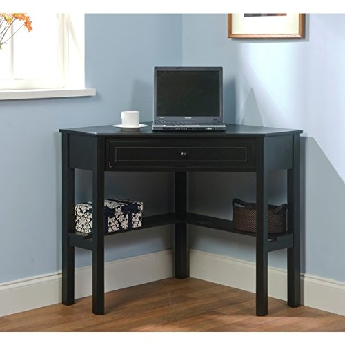 Corner Computer Desk Small Wood Laptop Table Top with Drawer for Homework or Study Work Station Simple Living
