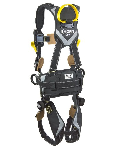 3M DBI-SALA ExoFit NEX 1113323 Full Body Arc Flash Harness, Back/Front Web Rescue Loops, Belt w/pad, PVC Coated Alum Side D-Rings, Locking QC Leg Straps, X-Large, Black by 3M Fall Protection Business (Image #1)