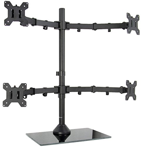 VIVO Black Adjustable Quad Monitor Desk Stand Mount, Free Standing Heavy Duty Glass Base | Holds 4 Screens up to 27 inches (STAND-V004FG)