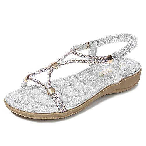 NVSRZTX Sandals Rhinestones Elastic Band Wild Casual Fashion Flat Beach Sandals Women,Silver,39 ()