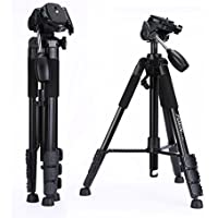 Foxin F111 Aluminum Lightweight Camera Tripods with Rocker Arm Ball Head and Carry Case for Canon Nikon Sony SLR Camera