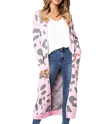 be0dac46ce Uni Clau Women's Long Sleeve Open Front Leopard Print Knit Long Cardigan  Winter Sweaters Coat Outwear