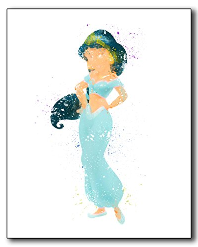 Jasmine Aladdin Disney Princess Watercolor Photo Prints - Unique Kids Wall Art (Aladdin Jasmin)