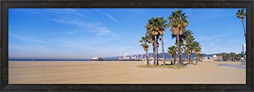 Santa Monica Beach, CA by Panoramic Images Framed Art Print Wall Picture, Espresso Brown Frame, 39 x 14 - Clean Monica Beach Is Santa