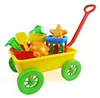 Beach Wagon Toy Set for Kids with Sand Wheel, Bucket, Shovel, Rake, Water Pail, Starfish and Turtle Shape Molds from Sandbox Sand