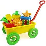 Beach Wagon Toy Set for Kids with Sand Wheel, Bucket, Shovel, Rake, Water Pail, Starfish and Turtle Shape Molds