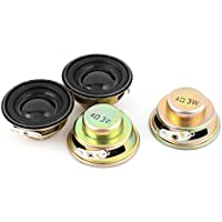 uxcell 4 Pcs Multimedia 3W 4 Ohm 40mm Dia Aluminum Internal Magnet Speaker
