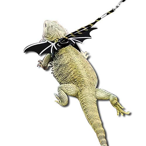 WATFOON Comfort Reptile Harness with Cool Wings - Adjustable Handmade Lead - Great for Lizard Chameleon Gecko Guinea Pig Ferrets Hamster Rats Walking & Training (L, Yellow)