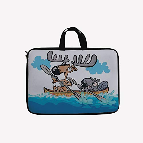 3D Printed Double Zipper Laptop Bag,Friend Canoe River Fun Native Characters,14 inch Canvas Waterproof Laptop Shoulder Bag Compatible with 14