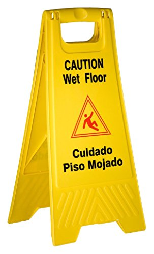 TigerChef PLWFC024@8PK Tiger Chef Wet Floor Caution Sign, Yellow, Plastic (Pack of 8)