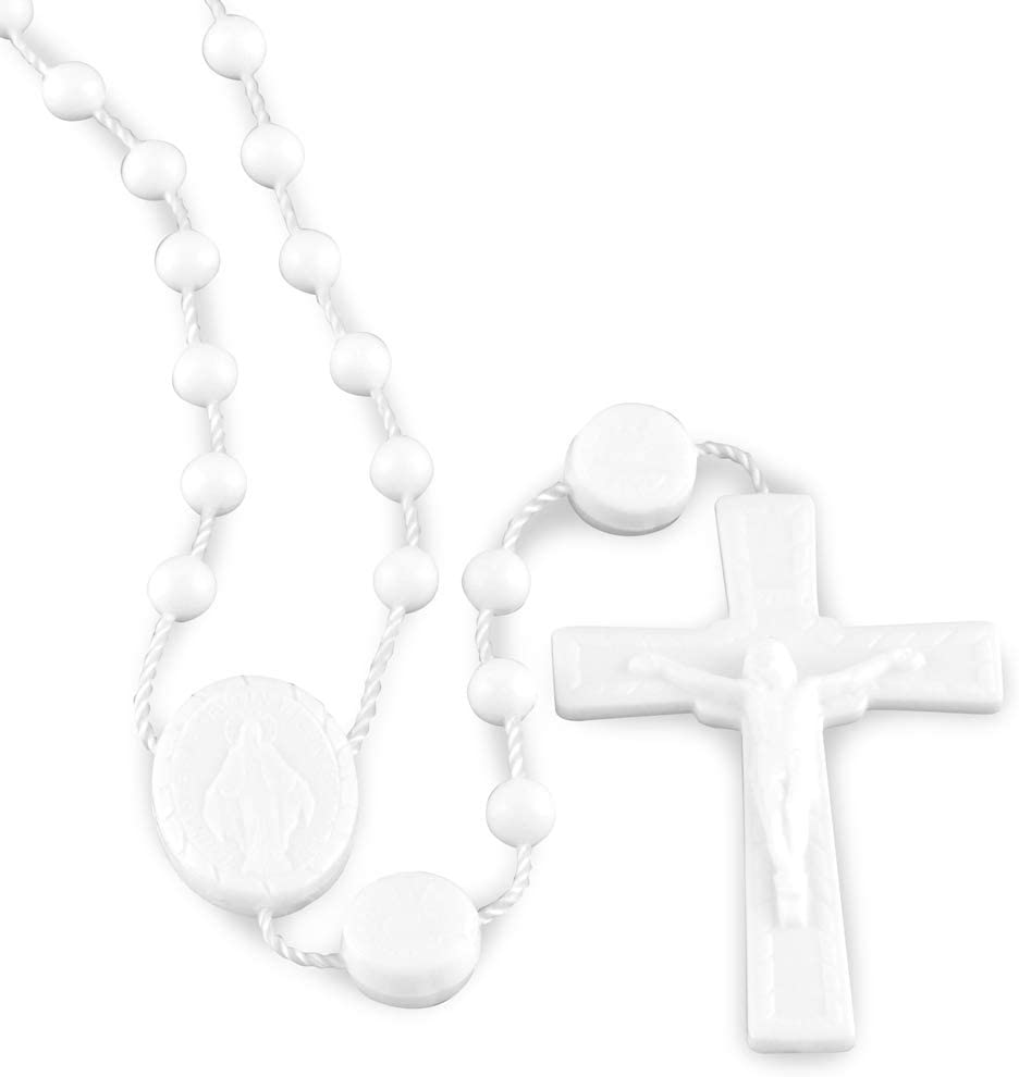 Jerusalem Lot of 12 White Wooden Rosary with Jesus imprint from 18 inches