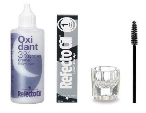 Refectocil SET - Pure Black Cream Hair Dye + Creme Oxidant 3% 3.4oz + Mixing Dish + Mascara Brush