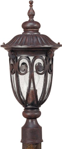 1 Light - MidSize Post Lantern - Seeded Glass