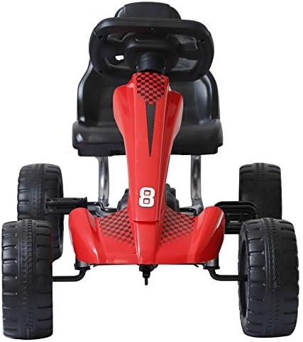 Homcom Vélo et véhicule pour Enfants Kart à pédales Go Kart Formule 1 Racing Rouge